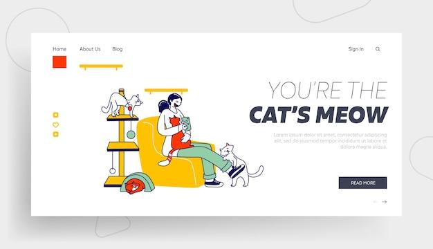 Modèle de page d'atterrissage de café chat moderne.