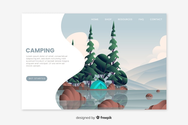Modèle de page d'atterrissage de camping dessiné à la main
