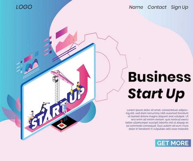 Modèle de page d'atterrissage avec le concept de création d'entreprise