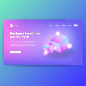 Modèle de page d'atterrissage avec concept graphique créatif design bleu