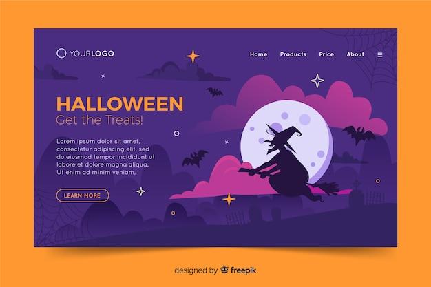 Modèle de page d'atterrissage design plat halloween