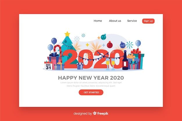 Modèle de page d'atterrissage design plat nouvel an