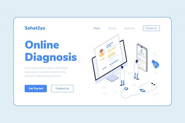 Modèle de page d'atterrissage diagnostic en ligne homme médecin smarthphone ordinateur stéthoscope adn santé isométrique illustration