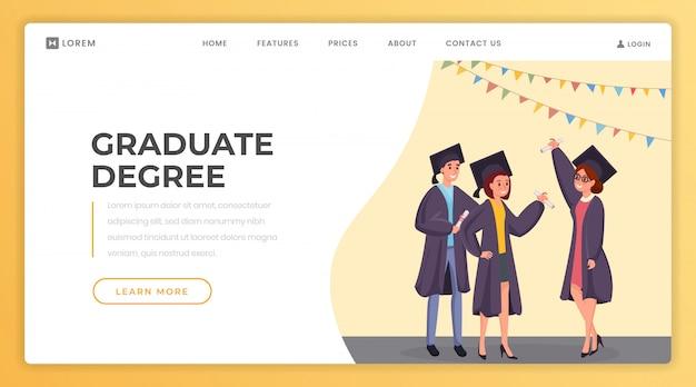 Modèle de page d'atterrissage de diplôme d'études supérieures.