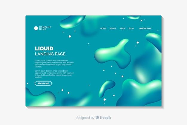Modèle de page d'atterrissage avec des formes liquides