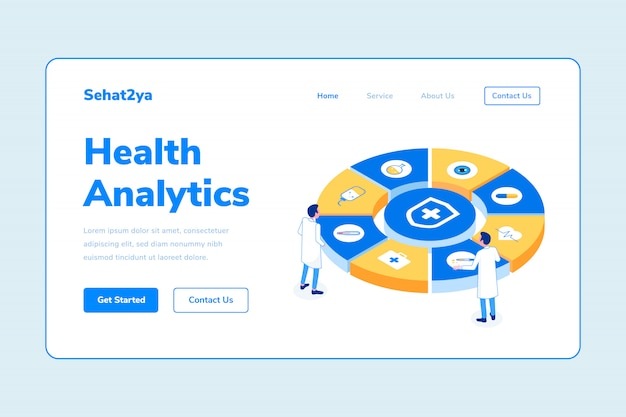 Modèle de page d'atterrissage health analytics two man doctor isometric illustration