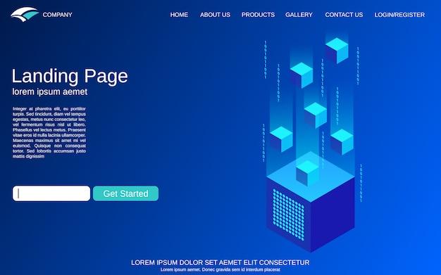 Modèle de page d'atterrissage avec illustration de concept isométrique technologie numérique