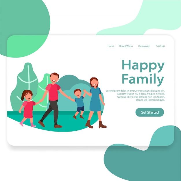 Modèle de page d'atterrissage illustration de happy family web