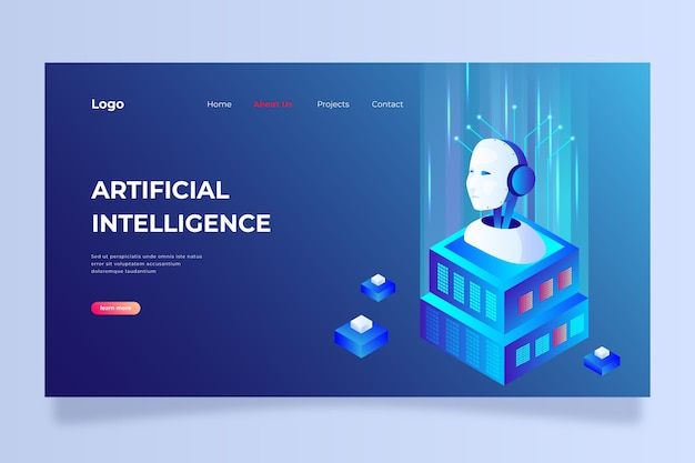 Modèle de page d'atterrissage intelligence artificielle