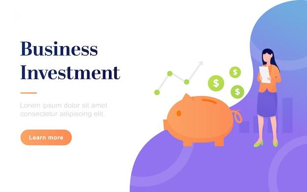 Modèle de page d'atterrissage d'investissement d'affaires plat moderne