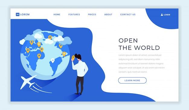 Modèle de page d'atterrissage isométrique d'agence de voyages