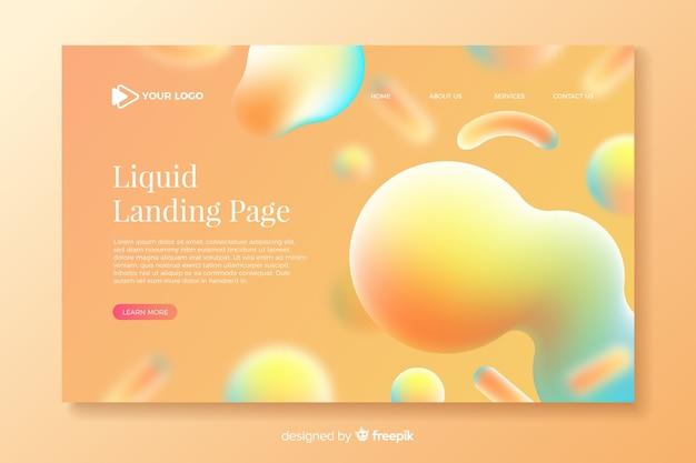 Modèle de page d'atterrissage liquide coloré