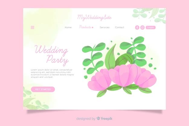 Modèle de page d'atterrissage de mariage aquarelle