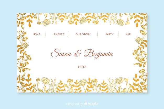 Modèle de page d'atterrissage de mariage doré