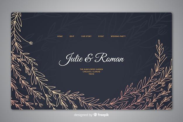 Modèle de page d'atterrissage de mariage élégant dessiné à la main