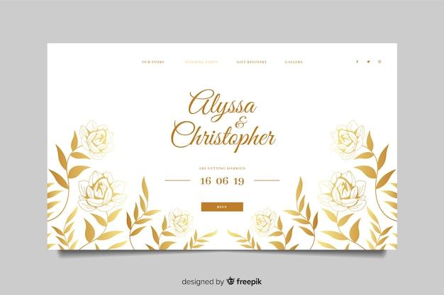 Modèle de page d'atterrissage de mariage élégant doré