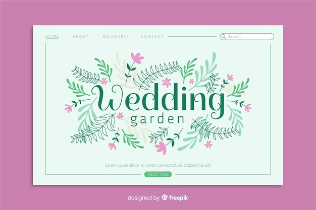 Modèle de page d'atterrissage de mariage floral