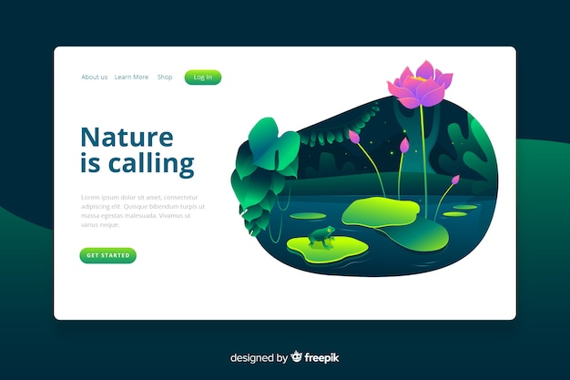 Modèle de page d'atterrissage de la nature