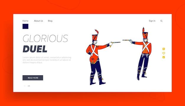 Modèle de page d & # 39; atterrissage de personnages de hussards en duel avec des armes à feu