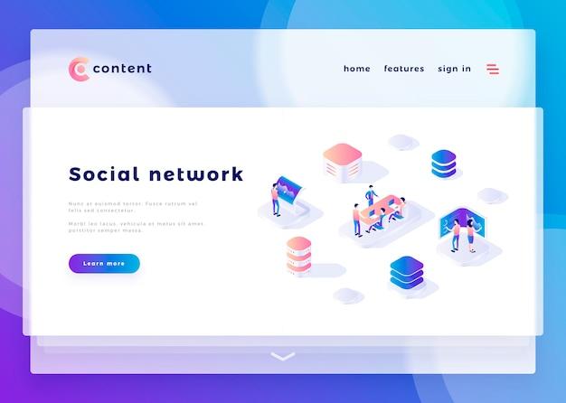 Modèle de page d'atterrissage pour les gens de bureau de réseau social et interagir avec les ordinateurs vector illustration