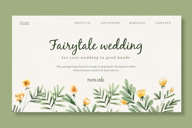 Modèle de page d'atterrissage pour mariage avec des fleurs