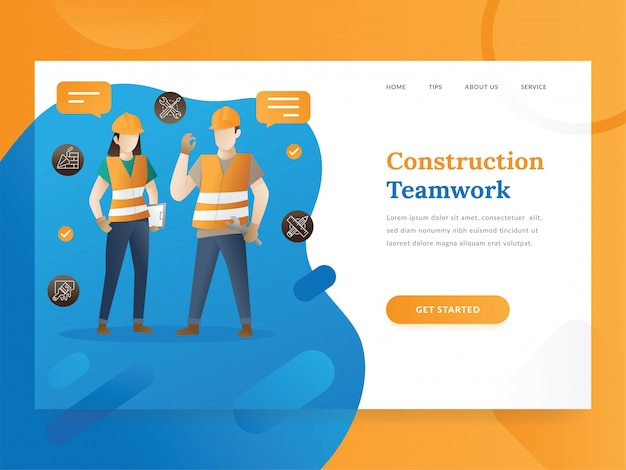 Modèle de page d'atterrissage de project & construction management
