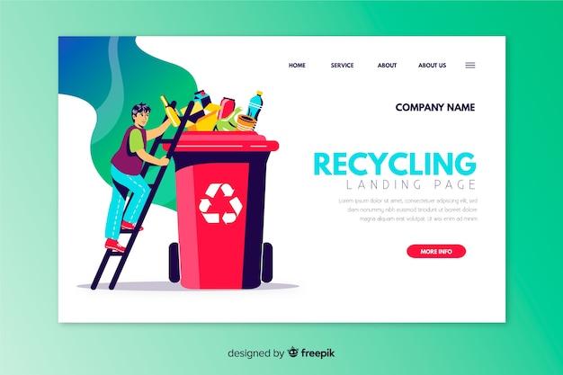 Modèle de page d'atterrissage de recyclage dessiné à la main