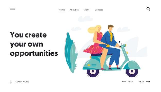 Modèle de page d'atterrissage de scooter de couple heureux.