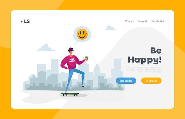 Modèle de page d'atterrissage de skateboard personnage adolescent. jeune homme en vêtements décontractés, boire du café tout en faisant de la planche à roulettes sur fond de paysage urbain. megapolis lifestyle. dessin animé
