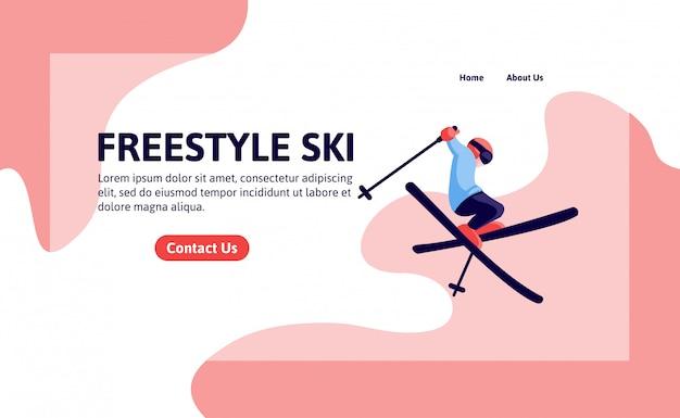 Modèle de page d'atterrissage de ski acrobatique