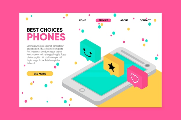 Modèle de page d'atterrissage avec smartphone