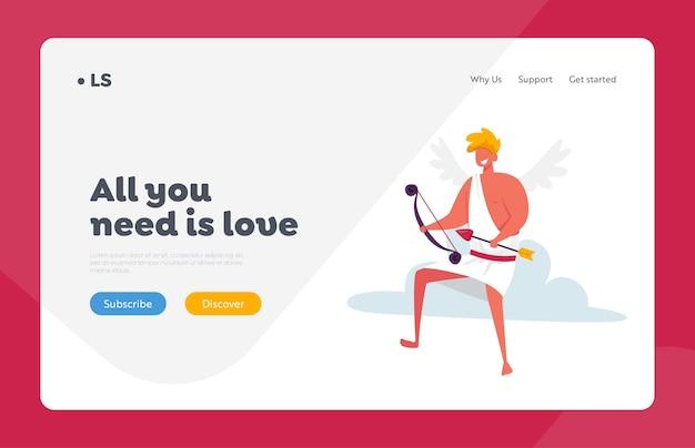 Modèle de page d'atterrissage de symbole d'amour et de romance