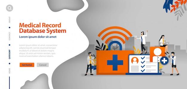Modèle de page d'atterrissage avec système de base de données d'enregistrement médical, internet wifi pour aider à enregistrer le concept d'illustration de vecteur de la maladie histoire du patient