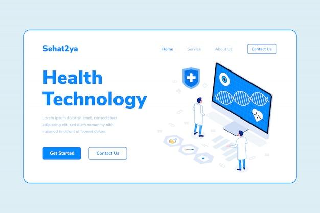 Modèle de page d'atterrissage technologie santé deux homme médecin adn ordinateur illustration isométrique