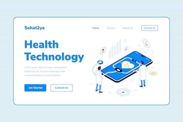 Modèle de page d'atterrissage technologie santé deux homme médecin smarthphone stéthoscope illustration isométrique