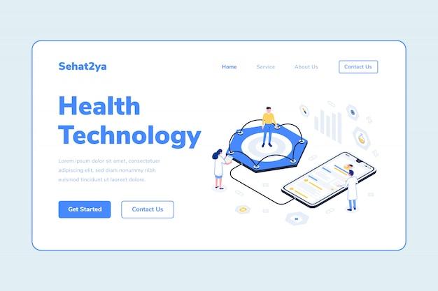 Modèle de page d'atterrissage technologie de la santé homme et femme médecin avec illustration isométrique du stéthoscope smarthphone patien