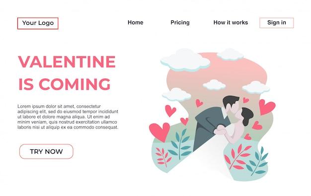 Modèle de page d'atterrissage avec le thème de la saint-valentin