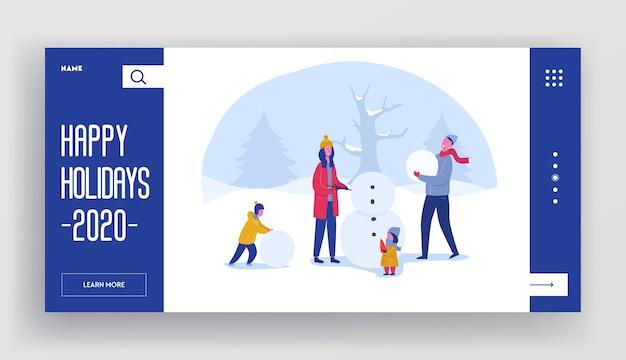 Modèle de page d'atterrissage de vacances d'hiver. mise en page de site web joyeux noël et bonne année avec des personnages de famille plats construisant un bonhomme de neige. site web mobile personnalisé.