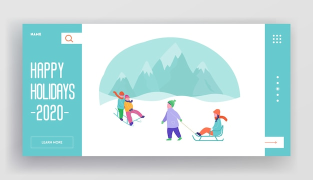 Modèle de page d'atterrissage de vacances d'hiver. mise en page de site web joyeux noël et bonne année avec personnages plats et enfants. site web mobile personnalisé équitation de luge.