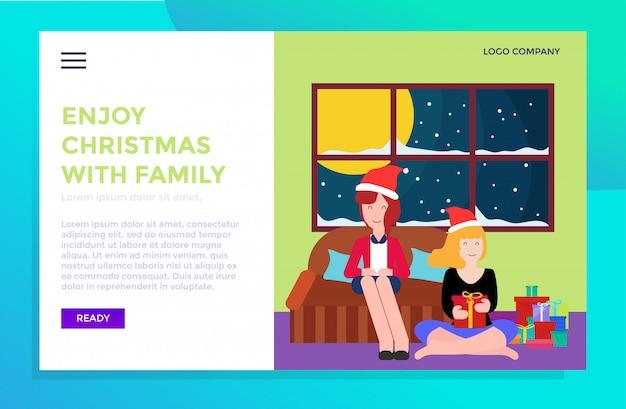 Modèle de page d'atterrissage de vacances de noël avec la conception de la famille
