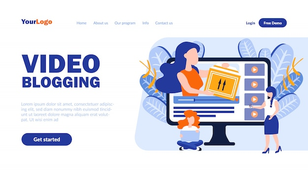 Modèle de page d'atterrissage de vecteur vidéo blogging avec en-tête
