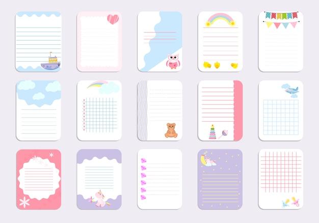Modèle de page de cahier pour enfants