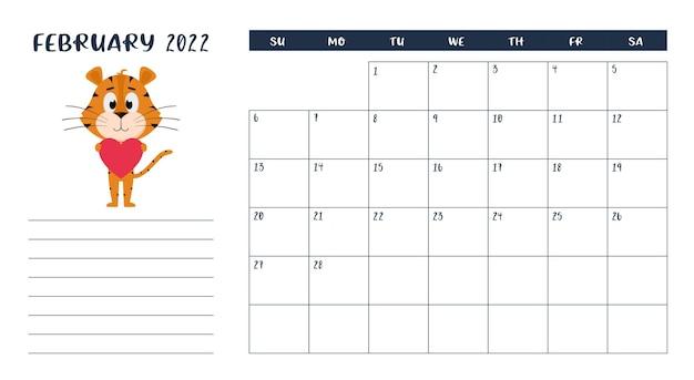Modèle de page de calendrier de bureau horizontal pour février 2022. un tigre tient un cœur dans ses pattes