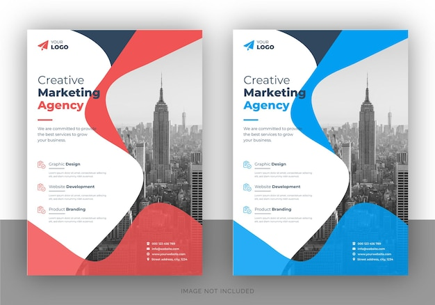 Modèle de page de couverture de brochure et de conception de flyer polyvalent d'entreprise