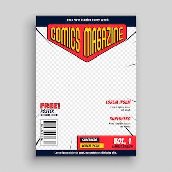 Modèle de page de couverture de livre de magazine de bande dessinée