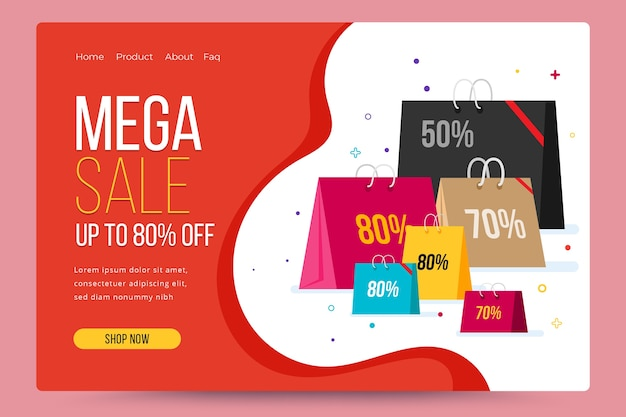 Modèle de page de destination abstraite de vente