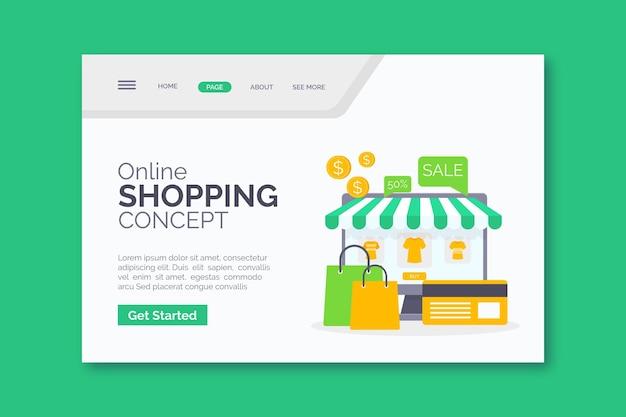 Modèle de page de destination d'achat en ligne plat