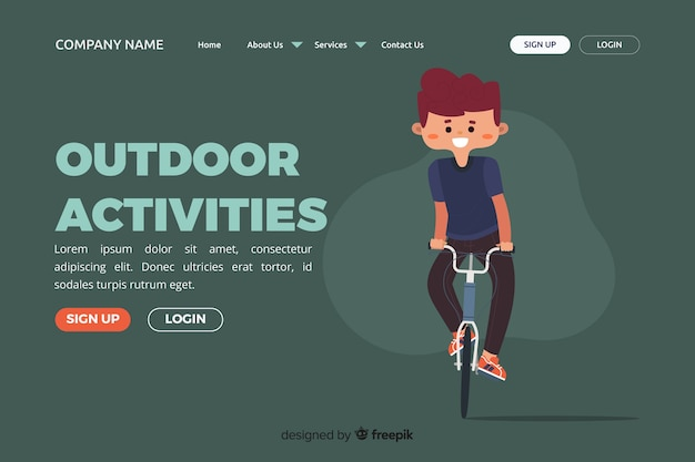 Modèle de page de destination d'activités de plein air