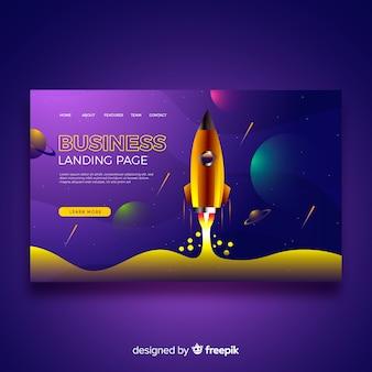 Modèle de page de destination d'affaires avec fusée