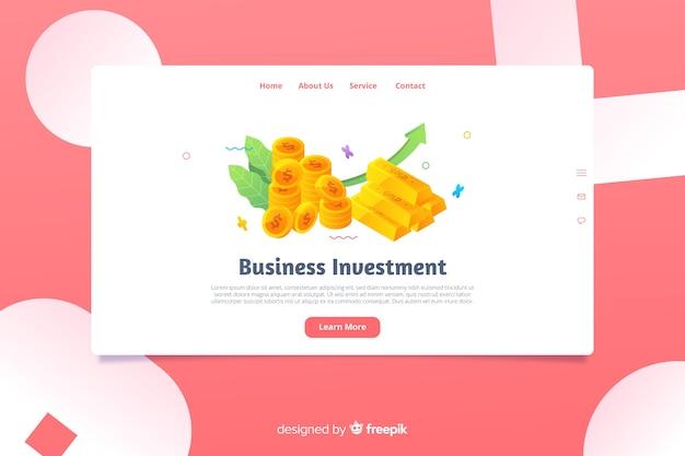 Modèle de page de destination d'affaires isométrique